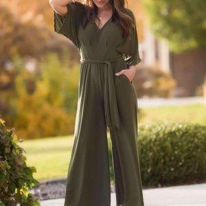 Pants - Olive sleeved romper